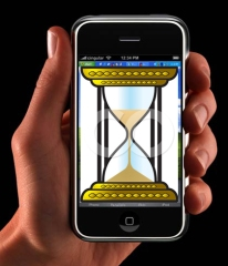 iphone with hourglass